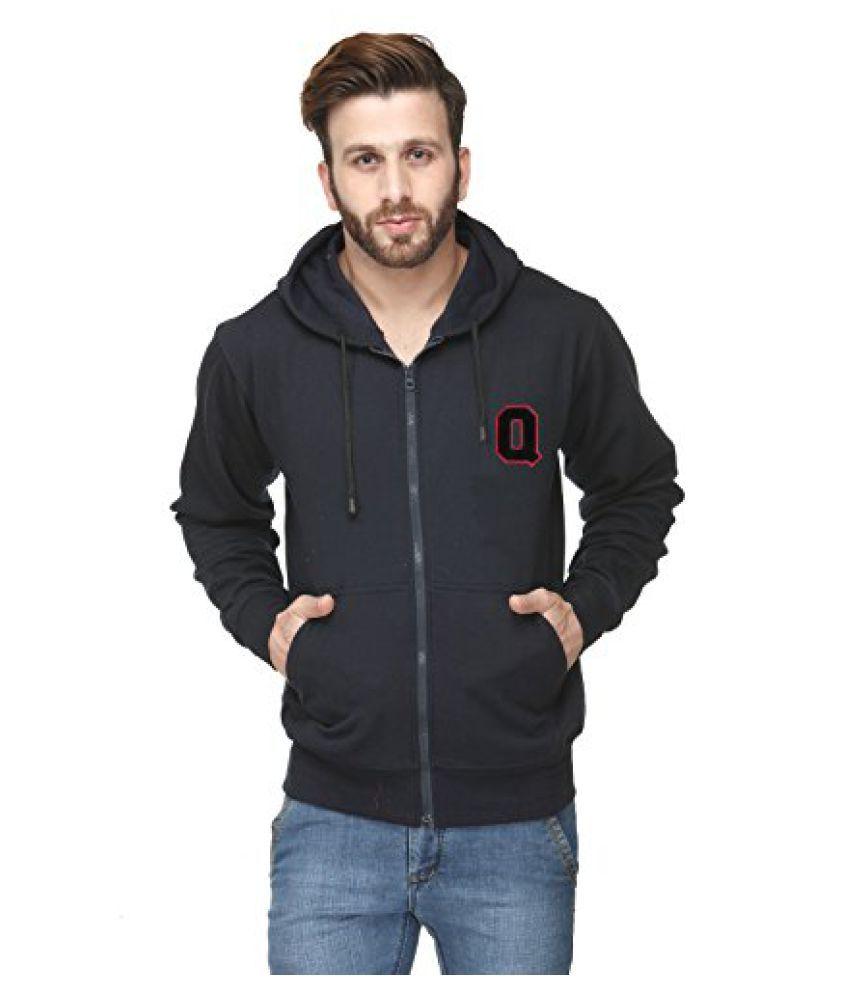 Navy Blue Cotton Comfort Styled Hooded Sweatshirt