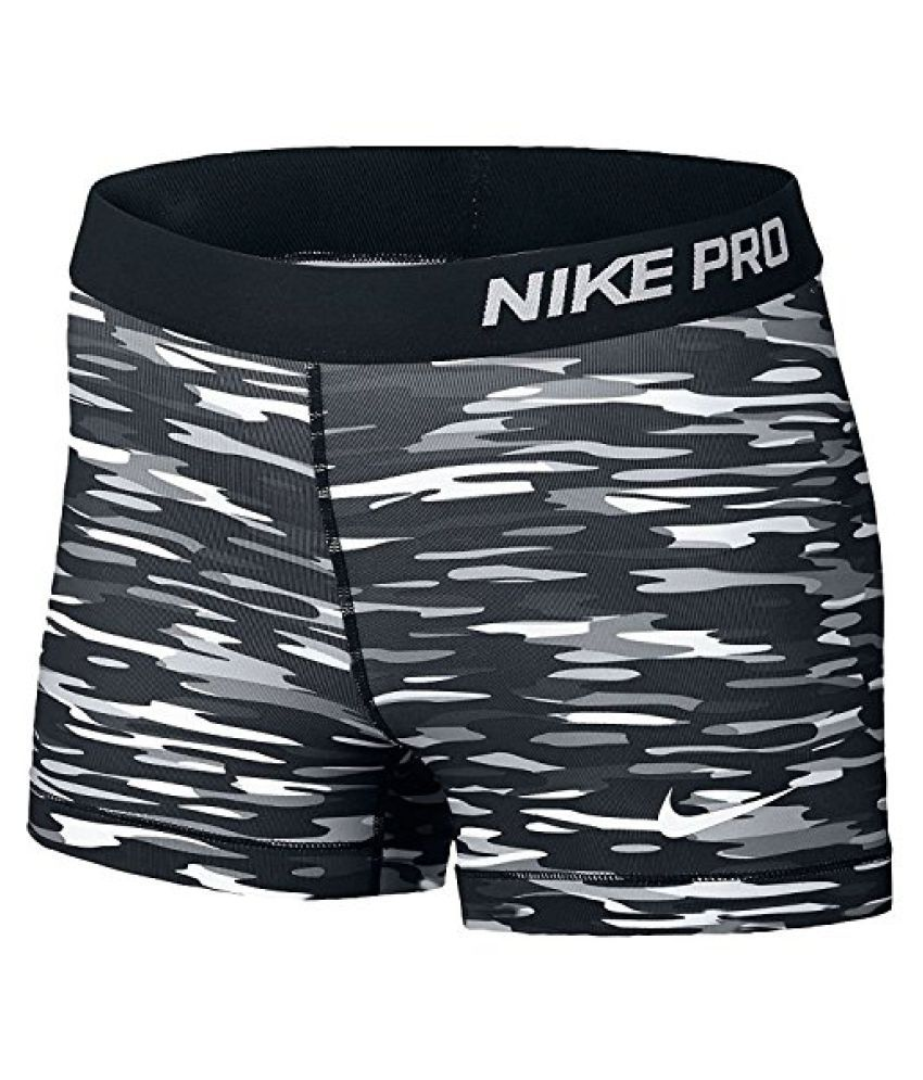 Nike Women's Pro 3 Haze Compression Shorts, White/Black, M