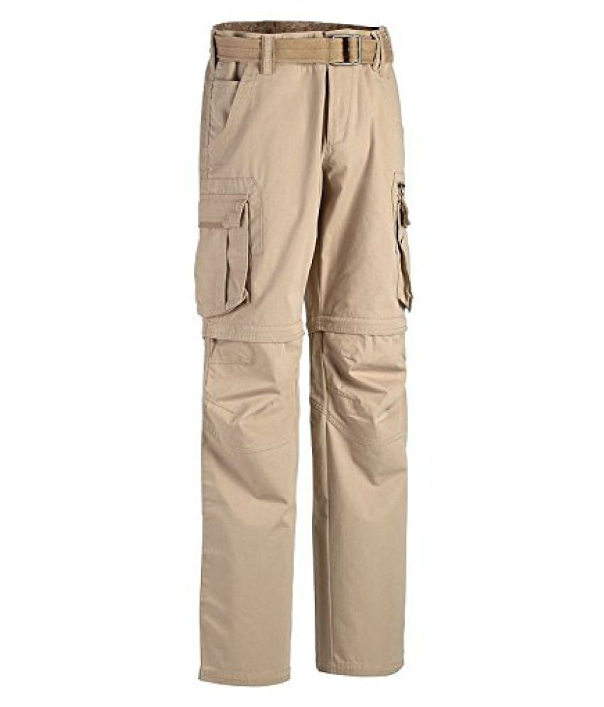 QUECHUA ARPENAZ 500 MEN'S CONVERTIBLE WALKING TROUSERS - BEIGE (40)