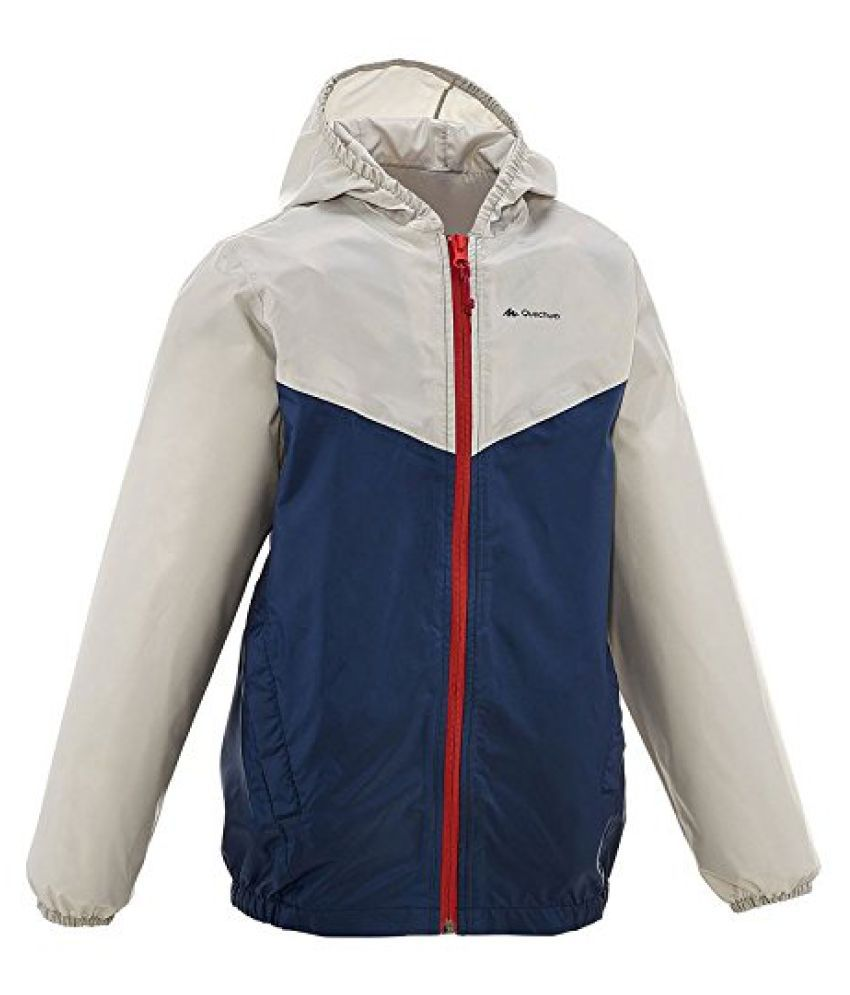 QUECHUA RAINCUT ZIP CHILDREN'S WATERPROOF JACKET - BLUE/GREY