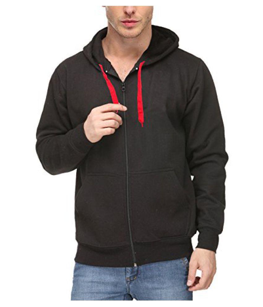 Scott Men's Premium Cotton Blend Pullover Hoodie Sweatshirt with Zip - Black - sc-sslz7-XXL