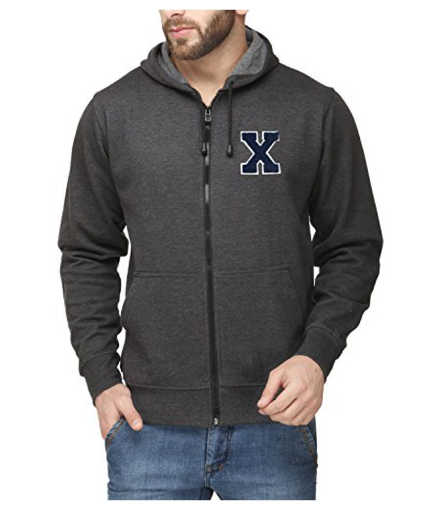 Scott Men's Premium Cotton Flocking Letter Pullover Hoodie Sweatshirt WITH Zip - Charcoal