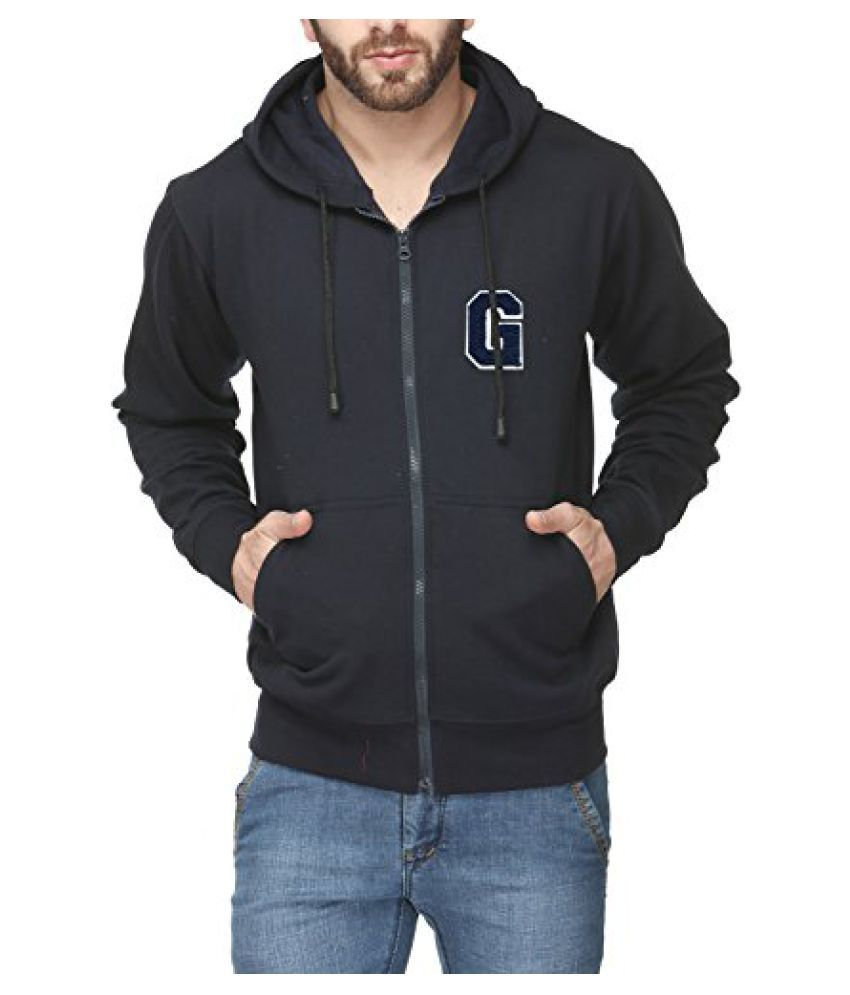 Scott Mens Premium Cotton Blend Pullover Hoodie Sweatshirt with Zip and Flocking Letter - Navy Blue - GESSlZ9_XXL