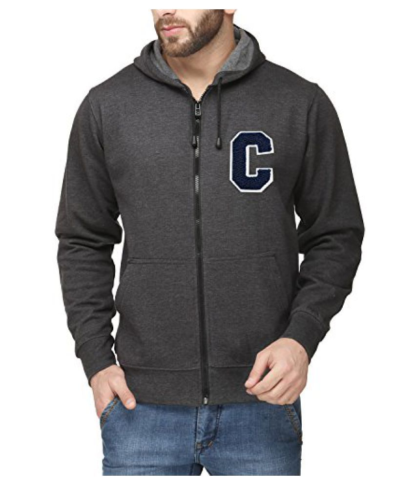 Scott Mens Premium Cotton Blend Pullover Hoodie Sweatshirt with Zip and Flocking Letter - Charcoal - CESSlZ1_XXL