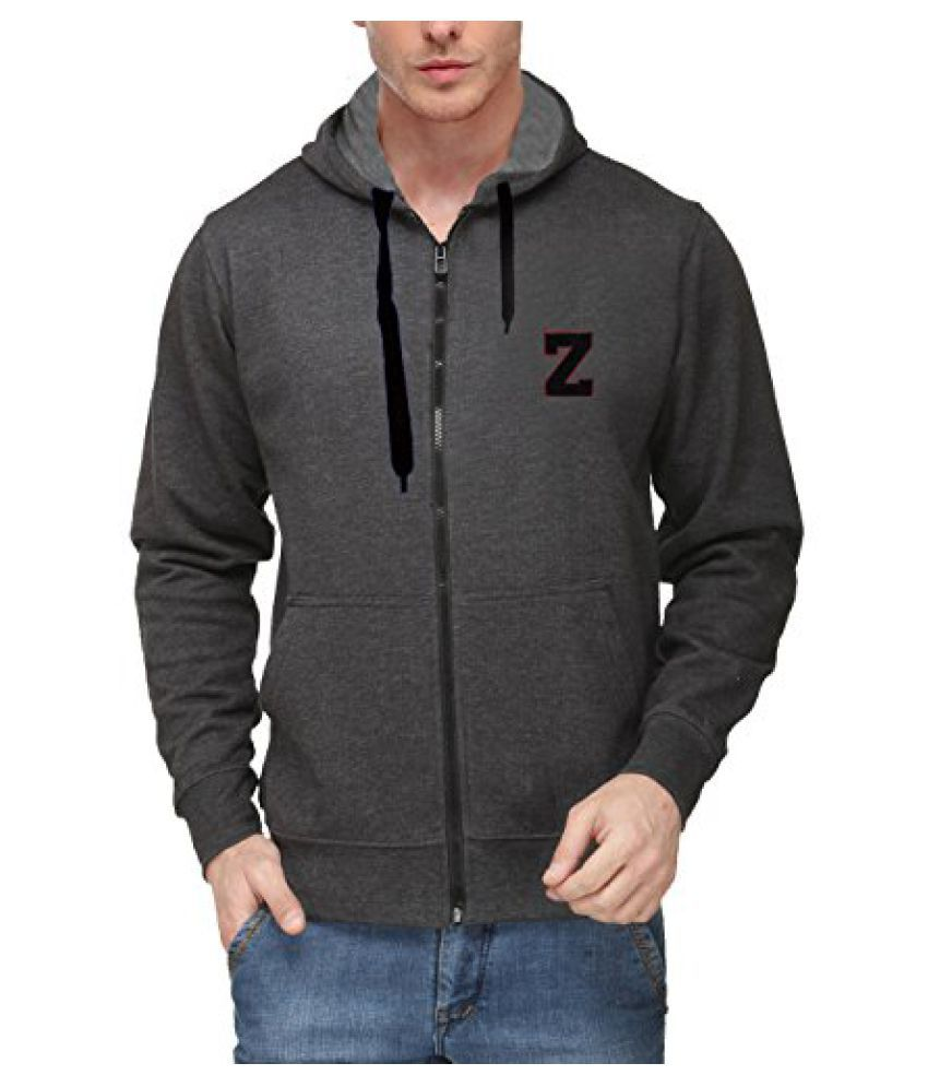 Scott Mens Premium Cotton Flocking Letter Pullover Hoodie Sweatshirt WITH Zip - Charcoal