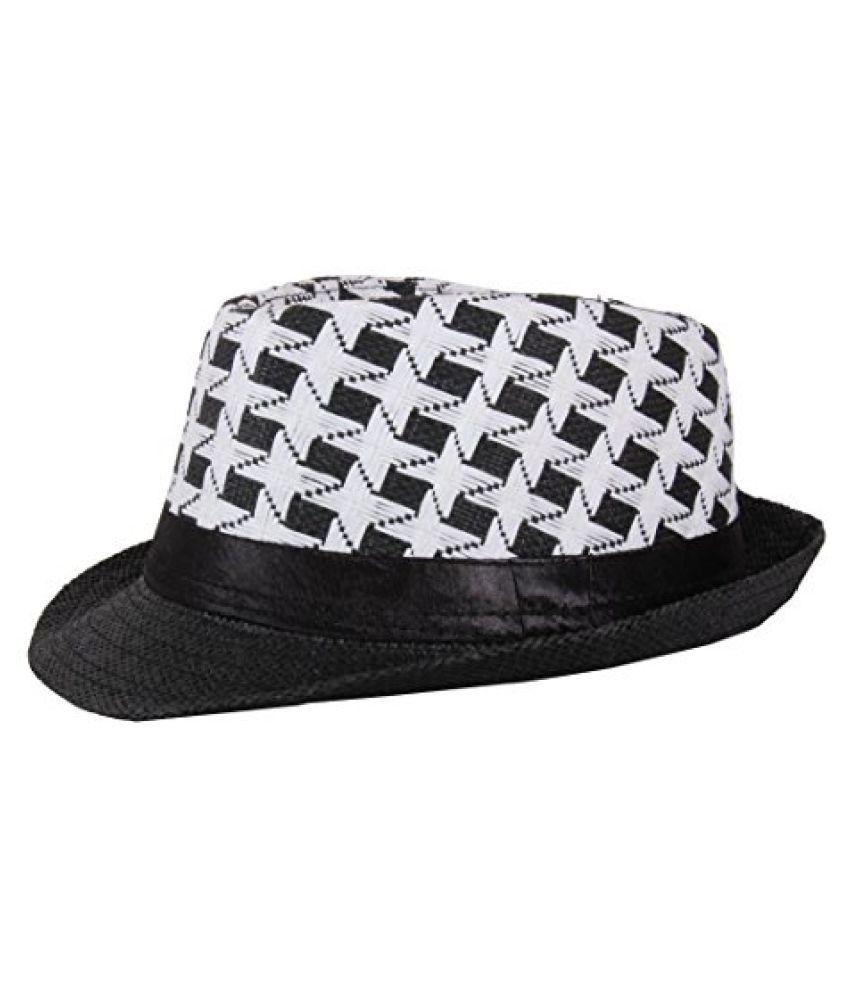 Stylish Black White Fidora Hat For Men