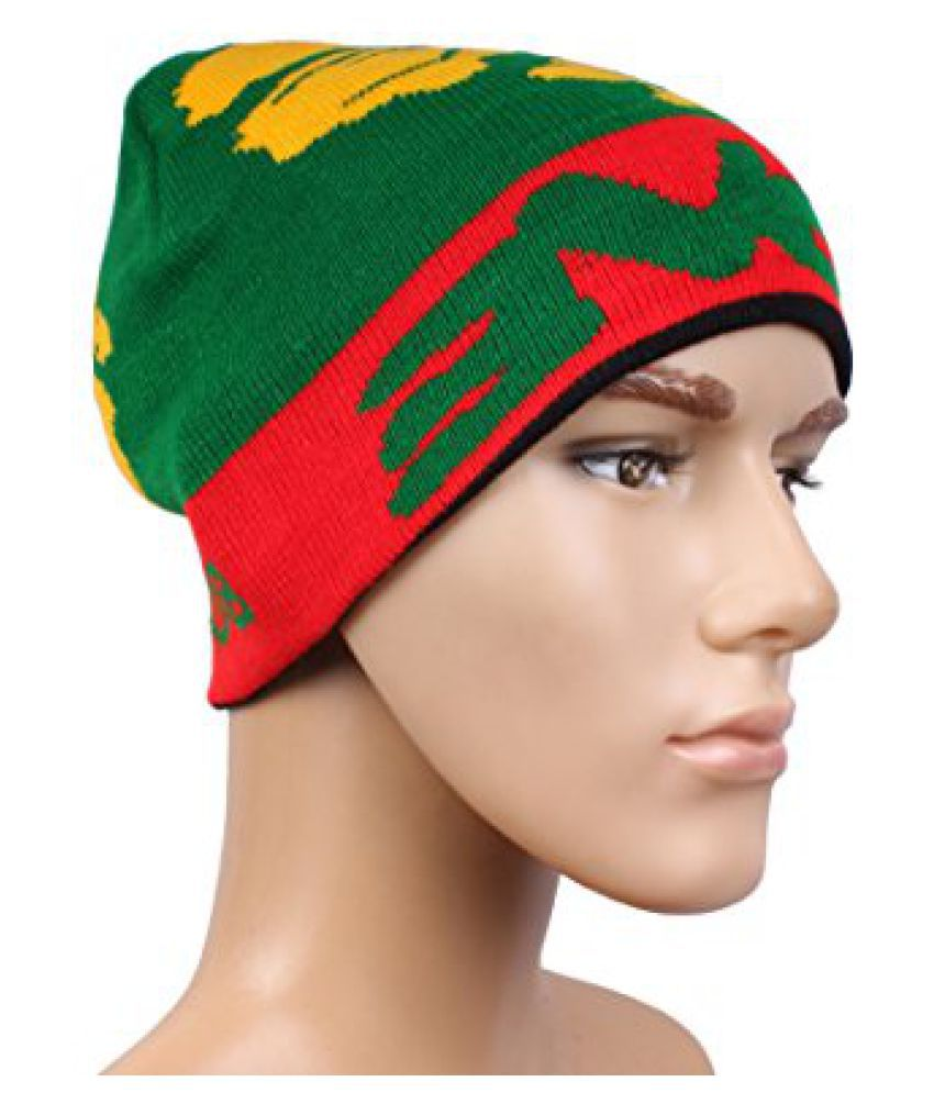 Sushito Green Red Stylish Unisex Wollen Cap