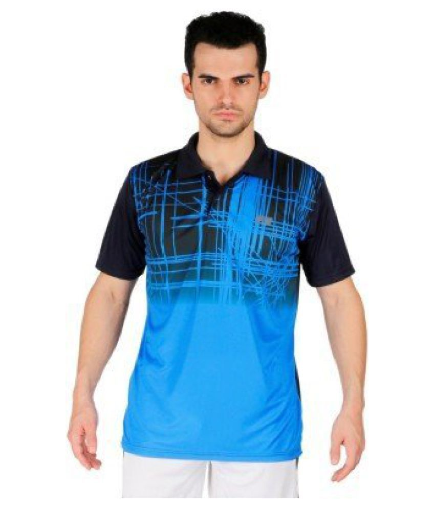 Vector X Printed Men's Polo Neck Badminton/Tennis Sublimation VTD-200-B T-Shirt(Blue-Black)