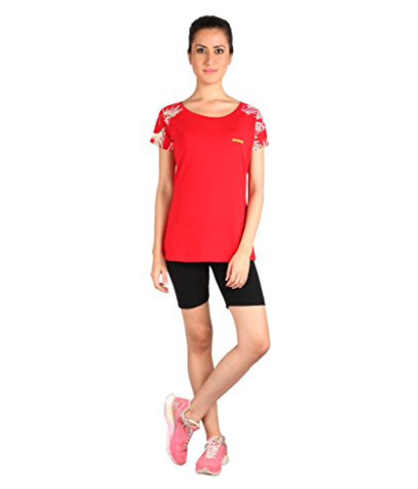 Vector X VTDF- 007 Printed sleeves Round Neck Womens T-Shirt, XXXL (Red)