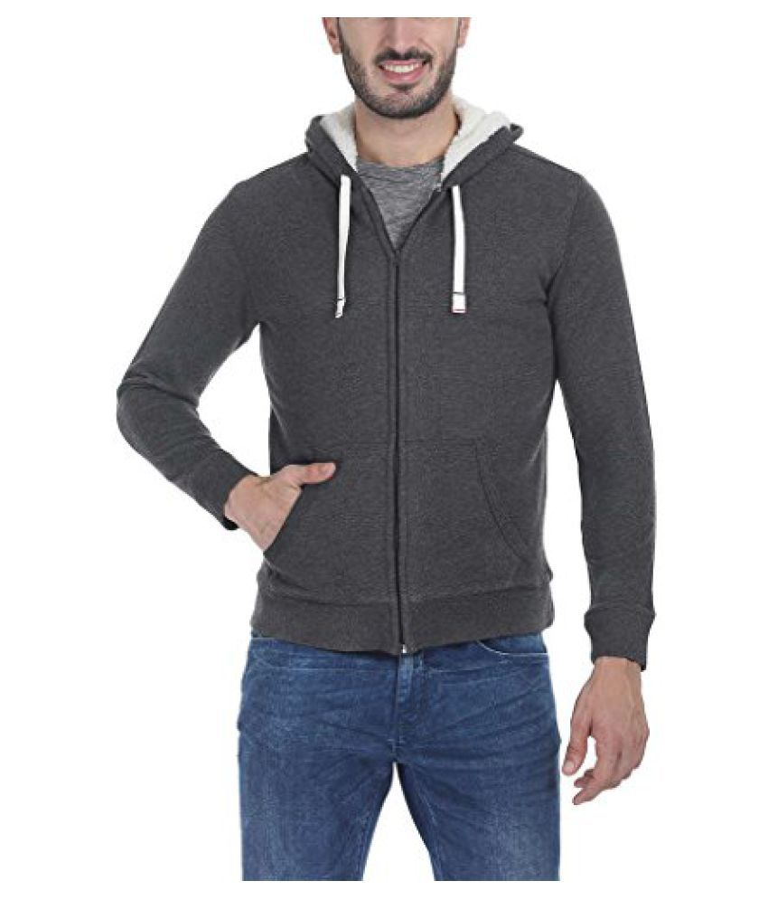 Zobello Men's Solid Zipper Hoodie with Sherpa Lining