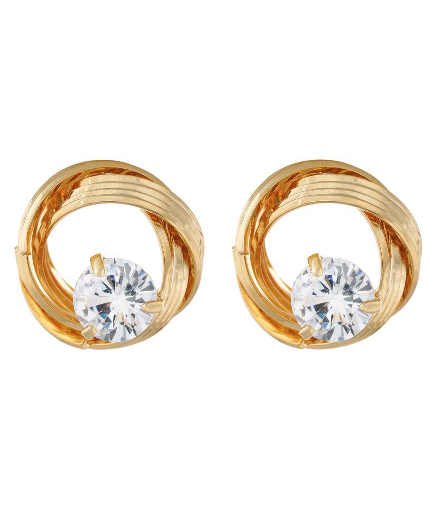 OSF Gold Colour Round Shape Ear  Studs for Girls and Womens