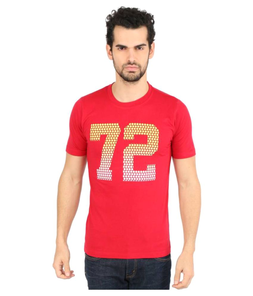 Vector X Printed Men's Round Neck Red T-Shirt