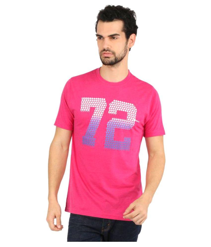Vector X Printed Men's Round Neck Pink T-Shirt