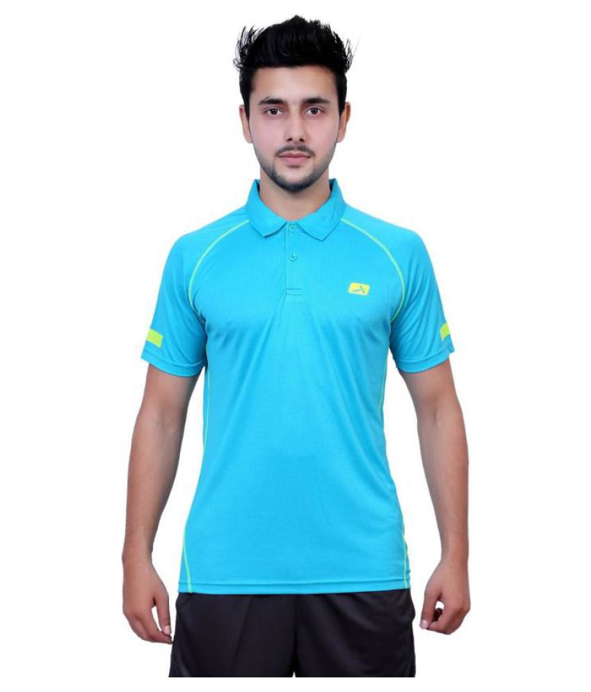 Vector X Solid Men's Polo Neck Light Blue T-Shirt