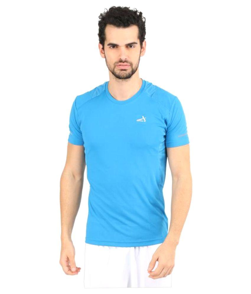 Vector X Solid Men's Round Neck Blue T-Shirt
