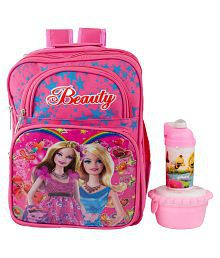 Uxpress Barbie Pink School Bag With Water Bottle And Tiffin Box