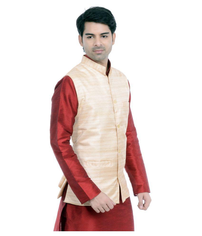 749b2463e Vastramay Beige Cotton Blend Nehru Jacket