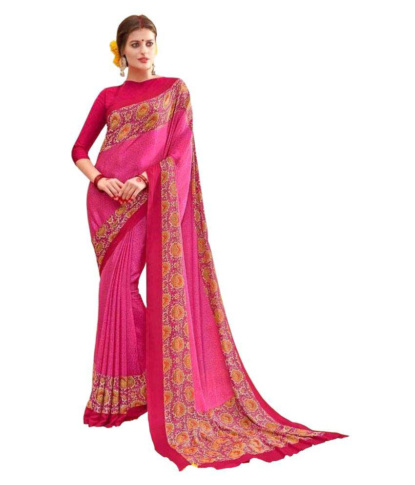Gaurangi Creation Pink Crepe Silk Saree
