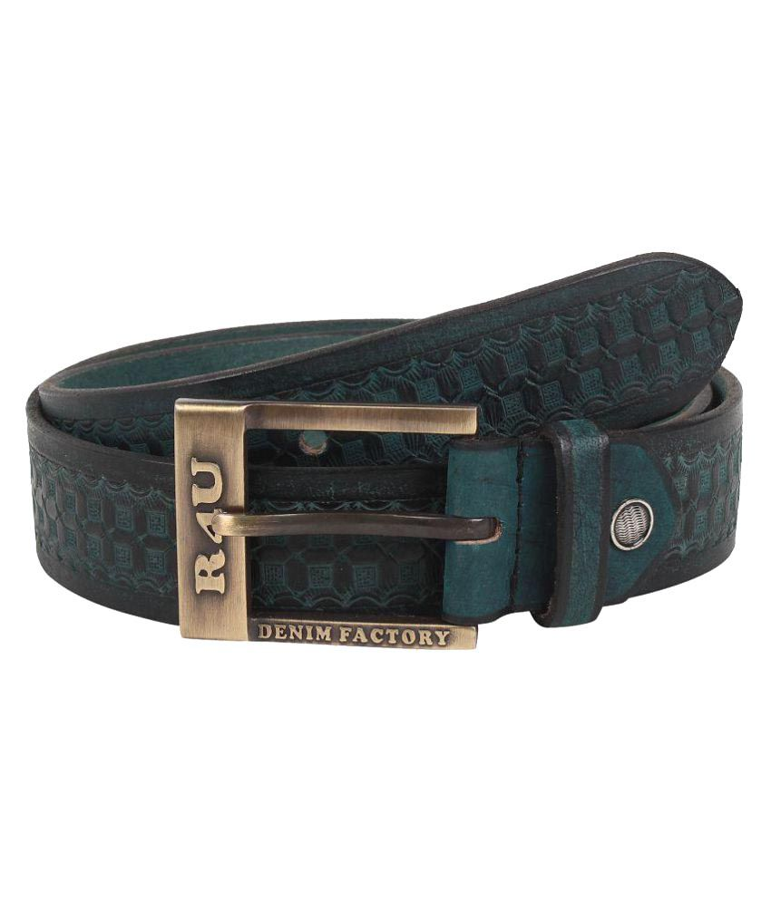 R4U Denim Factory Green Leather Casual Belts