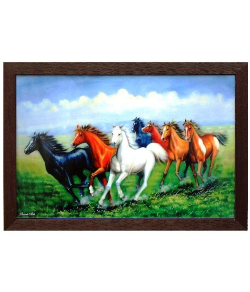 Amazing Collections Seven Horses Acrylic Painting With Frame Single Piece