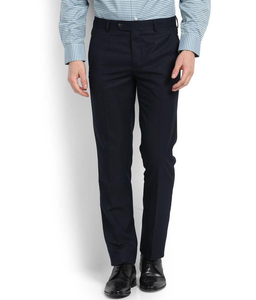 Van Heusen Blue Slim -Fit Flat Trousers
