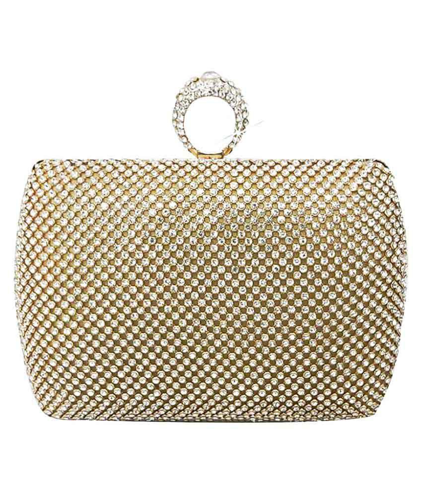Catman Gold Faux Leather Box Clutch
