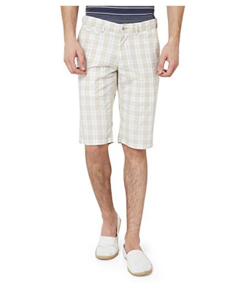 Hammock Men's Large Checked Bermuda Shorts - Beige/White