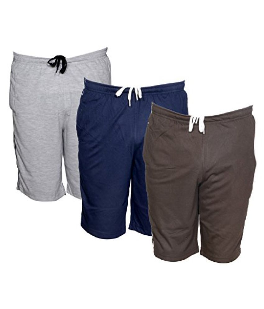 IndiWeaves Mens Regular Fit Casual Shorts (Pack of-3)