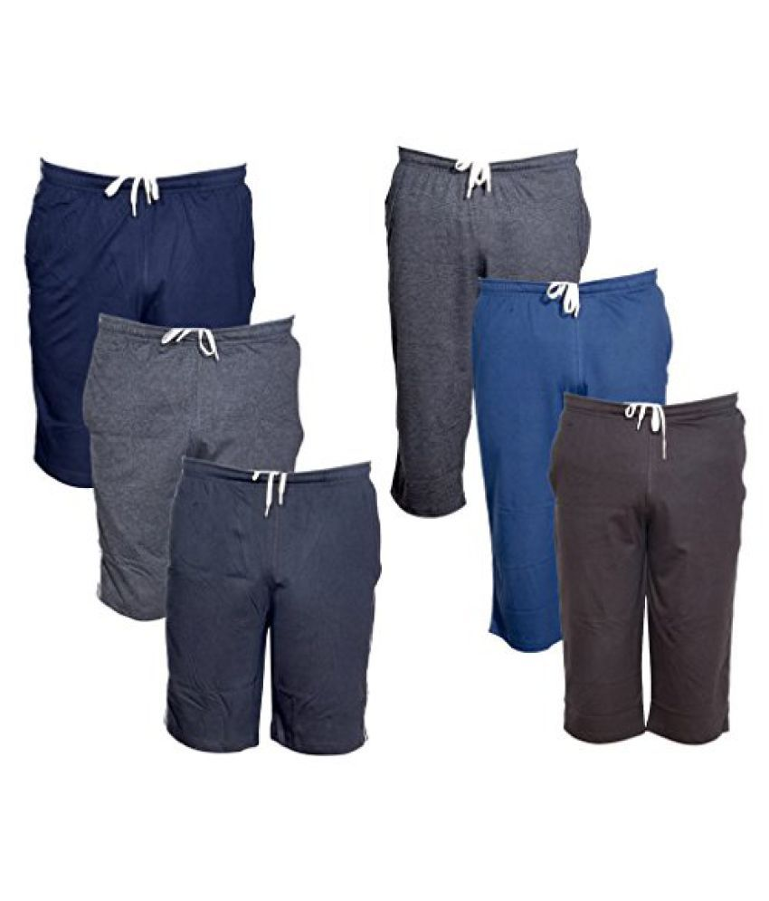 Indistar Mens 3 Cotton 3/4 Capri and 3 Shorts/Barmuda Combo Offer (Pack of 6)