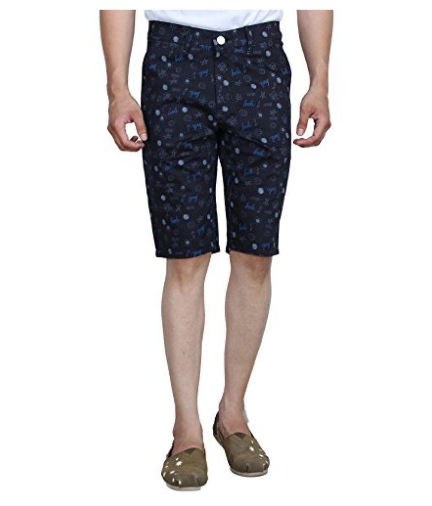 Studio Nexx Mens Printed Cotton Basic Shorts (Black)
