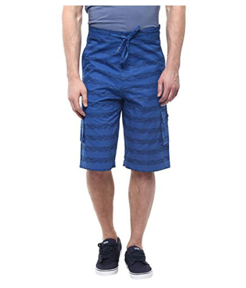 Blue Color Printed Cotton Shorts For Men