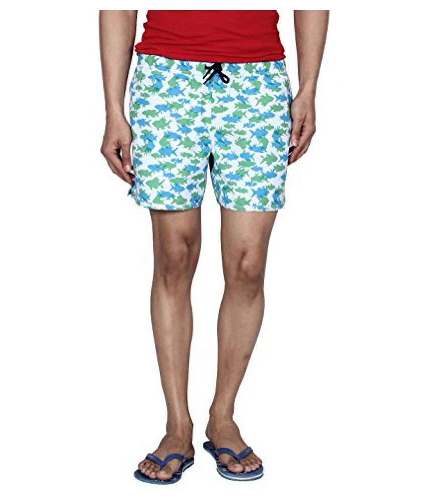 Hammock Men's Fish Printed Beach Shorts - Green/Blue/White