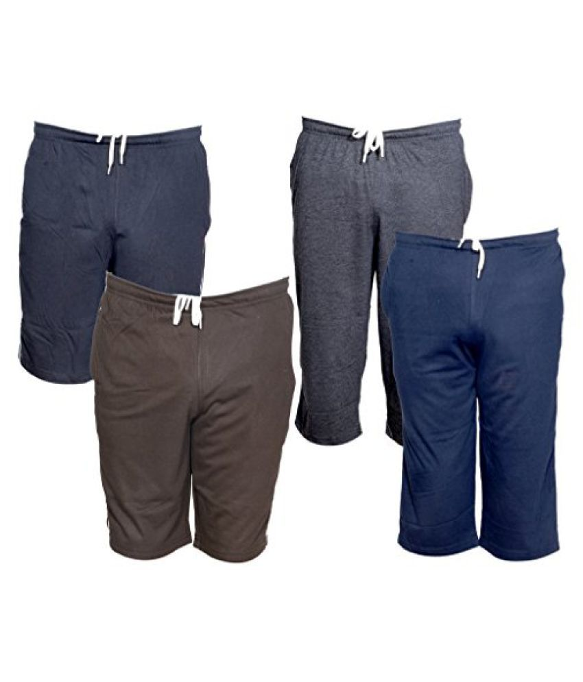 IndiWeaves Mens 2 Cotton 3/4 Capri and 2 Shorts/Barmuda Combo Offer (Pack of 4)