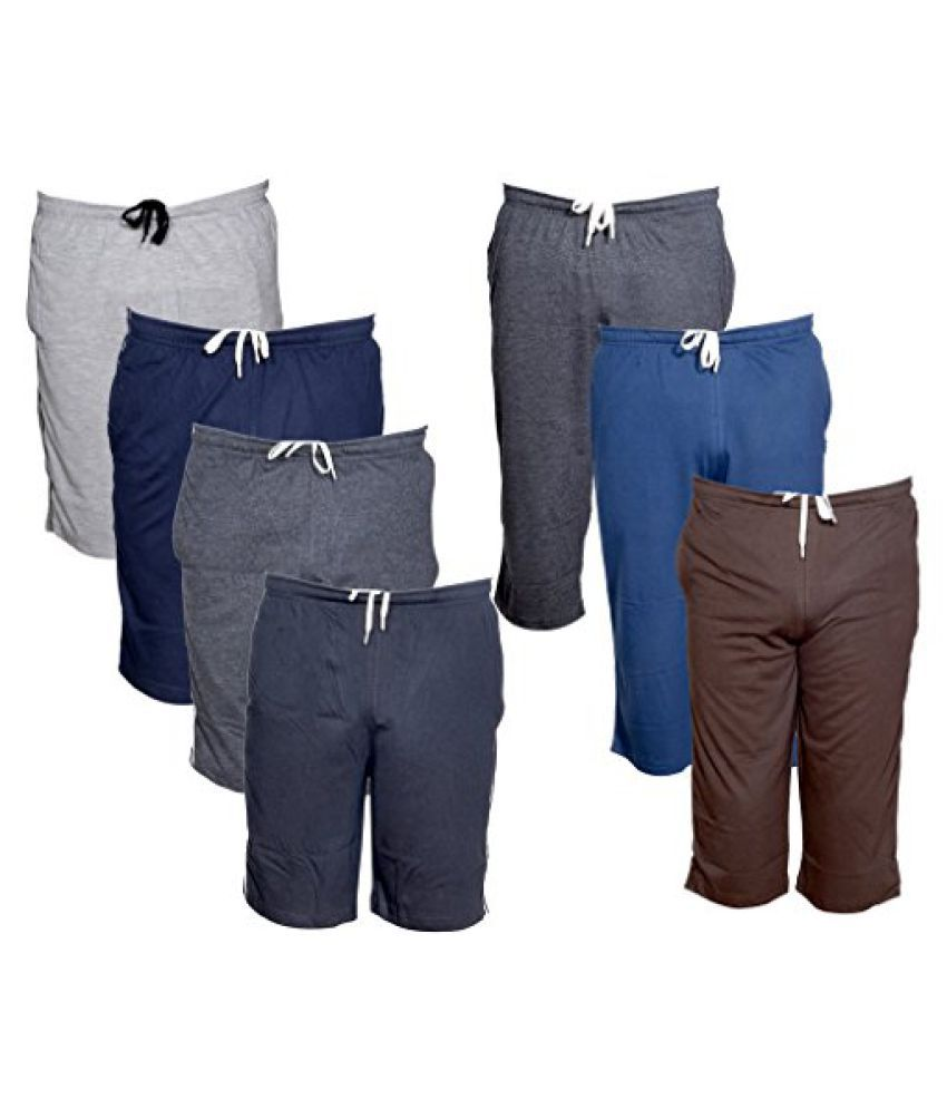 Indistar Mens 3 Cotton 3/4 Capri and 4 Shorts/Barmuda Combo Offer (Pack of 7)