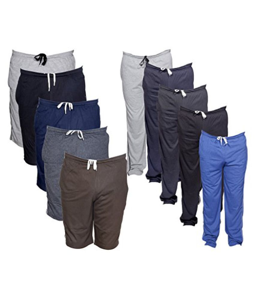 Indistar Mens Combo Pack(Pack of 5 3/4 Shorts/Bermuda and 5 Lower/Track pants)