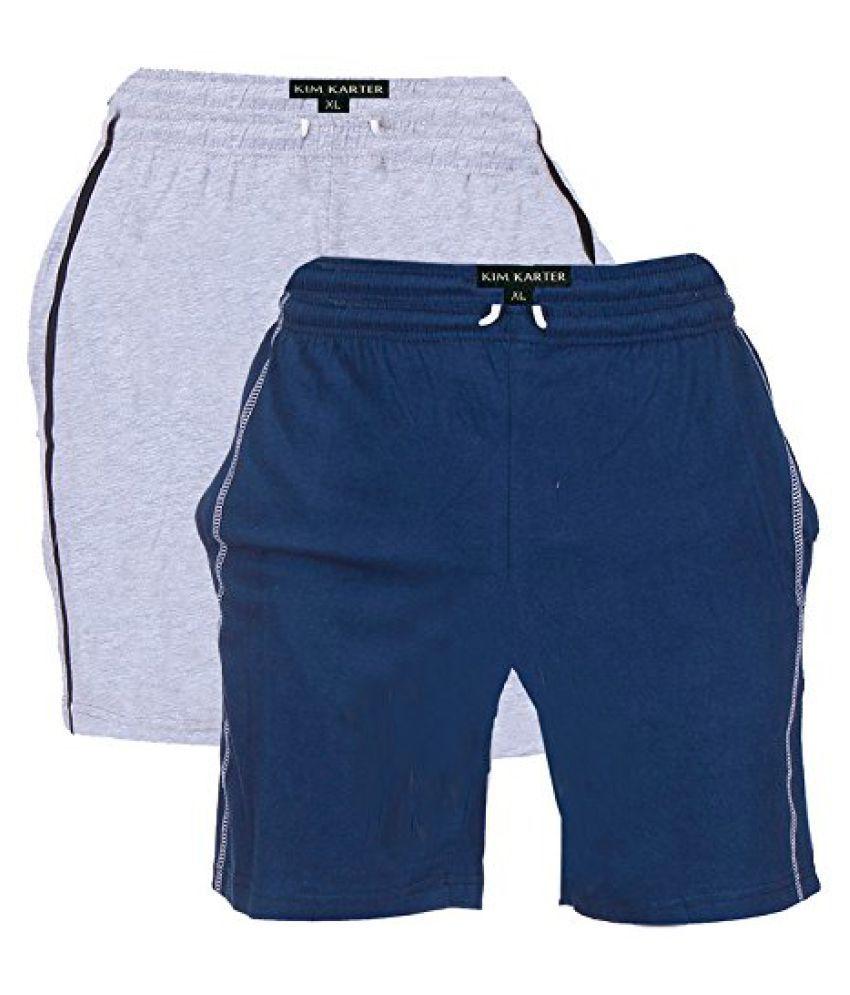 KimKarter Mens Cotton Shorts Pack of 2
