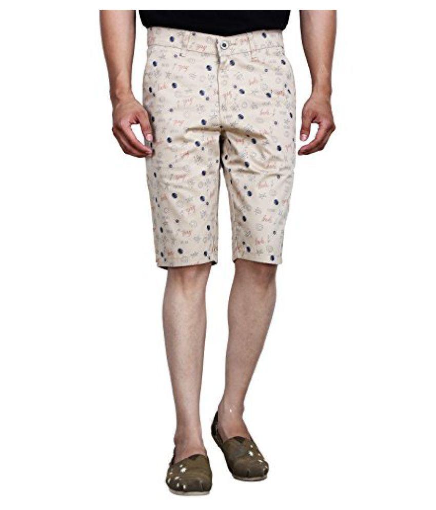 Studio Nexx Mens Printed Cotton Basic Shorts (Beige)