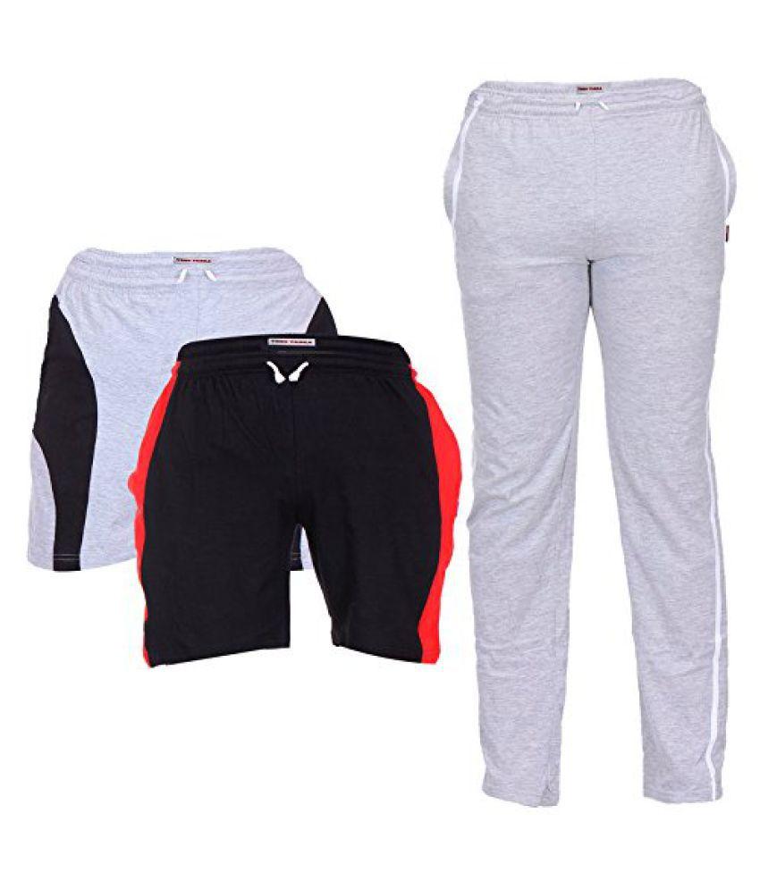 TeesTadka Men's Cotton Shorts and TrackPants Combo (Pack of 3)