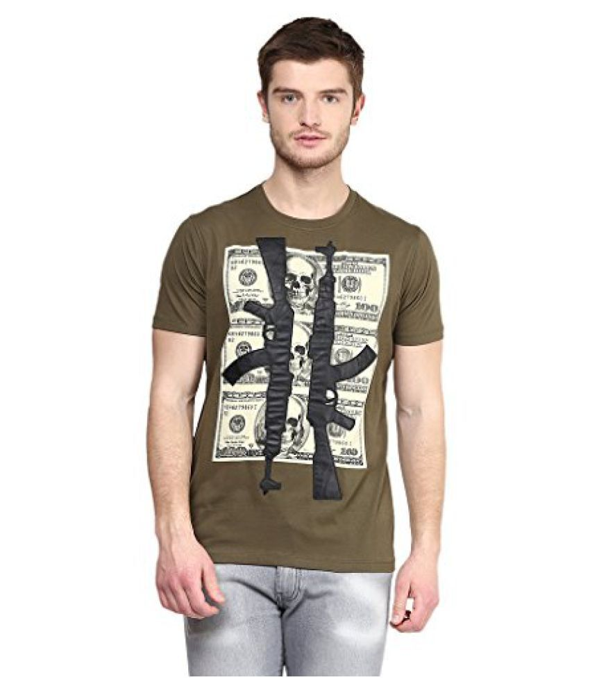 Wear Your Mind Green Cotton Round-Neck Printed T-shirt For Men TSS219.1