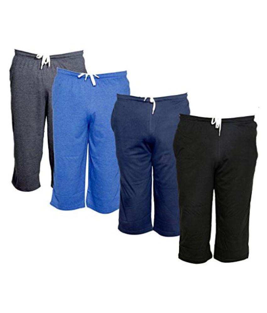 Indistar Men's Regular Fit Casual Capri (Pack of-4)_Grey::Blue::Blue::Black _Size-42