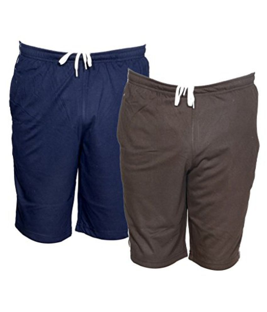 Indistar Mens Regular Fit Casual Shorts (Pack of 2)