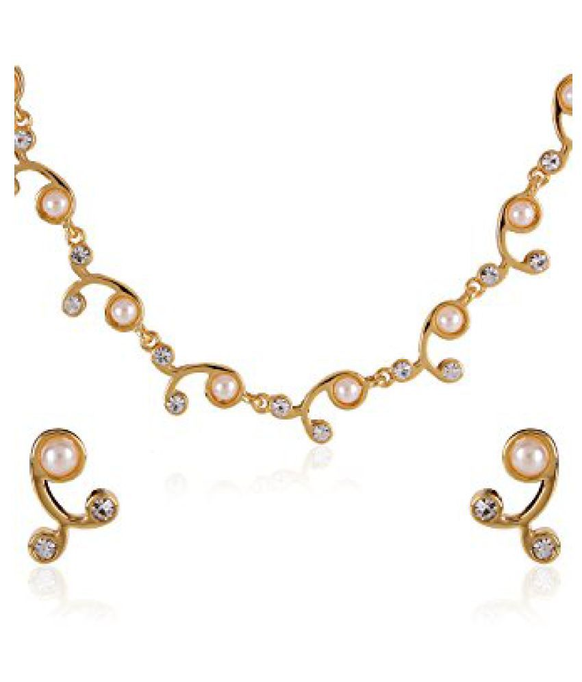 Estelle Gold Plated Necklace Set With Crystals And Pearl For Women