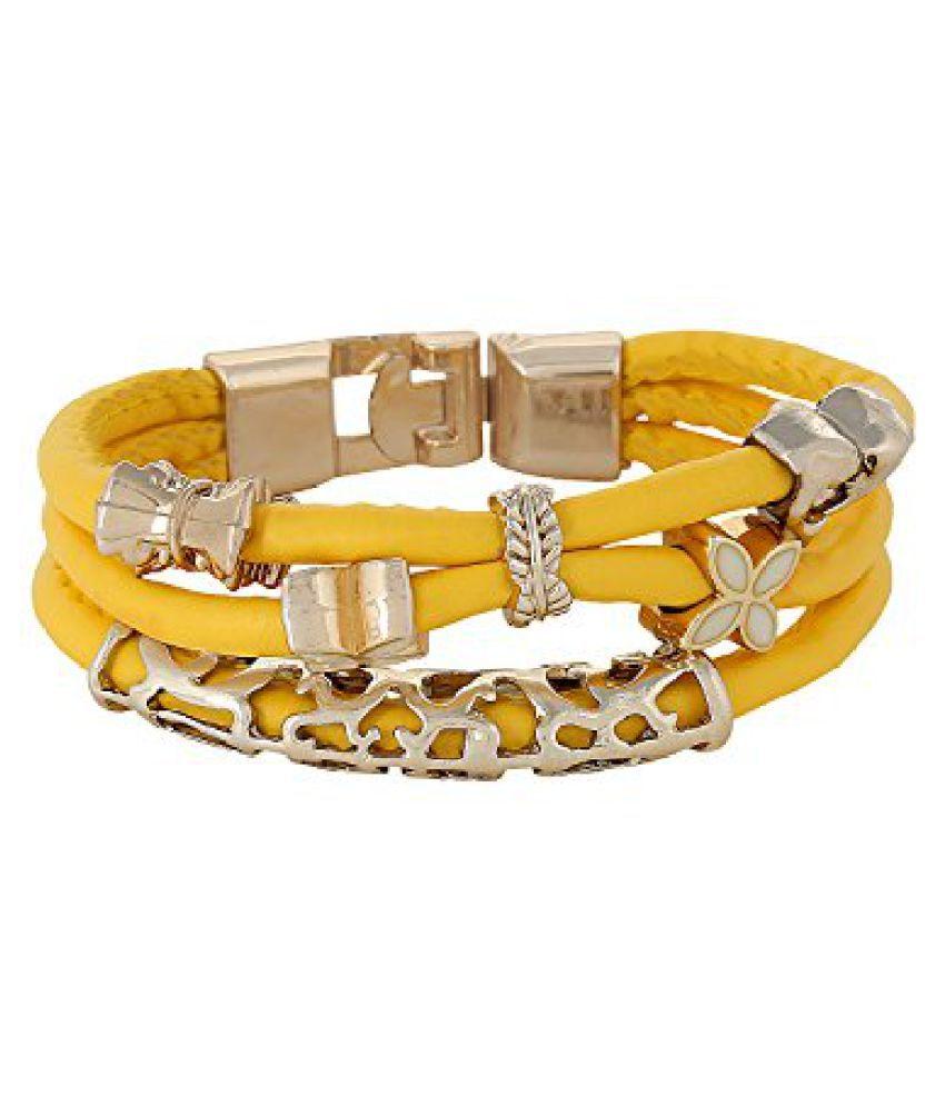 Fayon Chic Stylish Yellow Leather Multilayer Wrap Bracelet