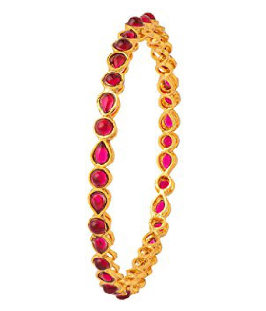 Colors TV Navrang Collection Drop & Round Designer Bangles Set Of 4 With Red Stones Embellishment by Voylla