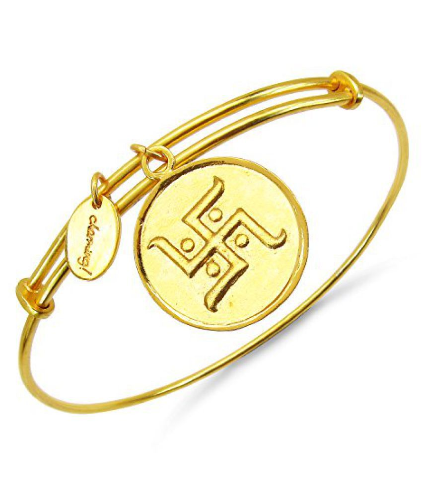 Johareez: Gold Plated Brass Swastika Embossed on Coin Bangle