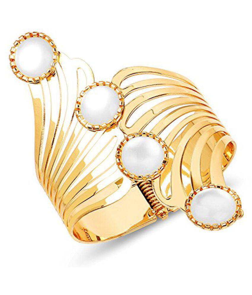 Johareez Gold Plated Mother Of Pearl Fashion Hand Cuff Kada For Women