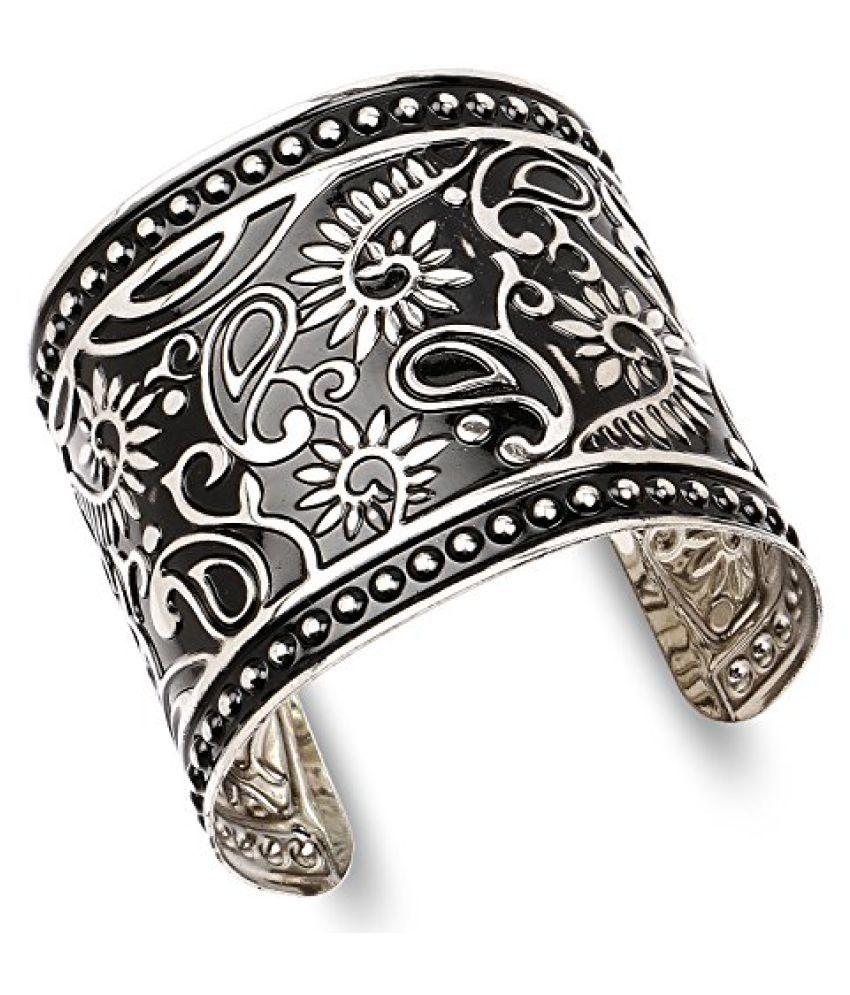 Oxidised Plated Silver Embossed Boho Hand Cuff Kada