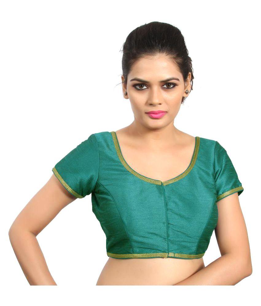 Atulya Designer Blouse Green Sweetheart Shape Back Blouse
