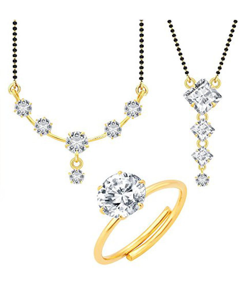 Jewels Galaxy Exclusive Circular and Square Design Elegant AAA American Diamond 2 Mangalsutra Set With 1 AD Free Size Ring