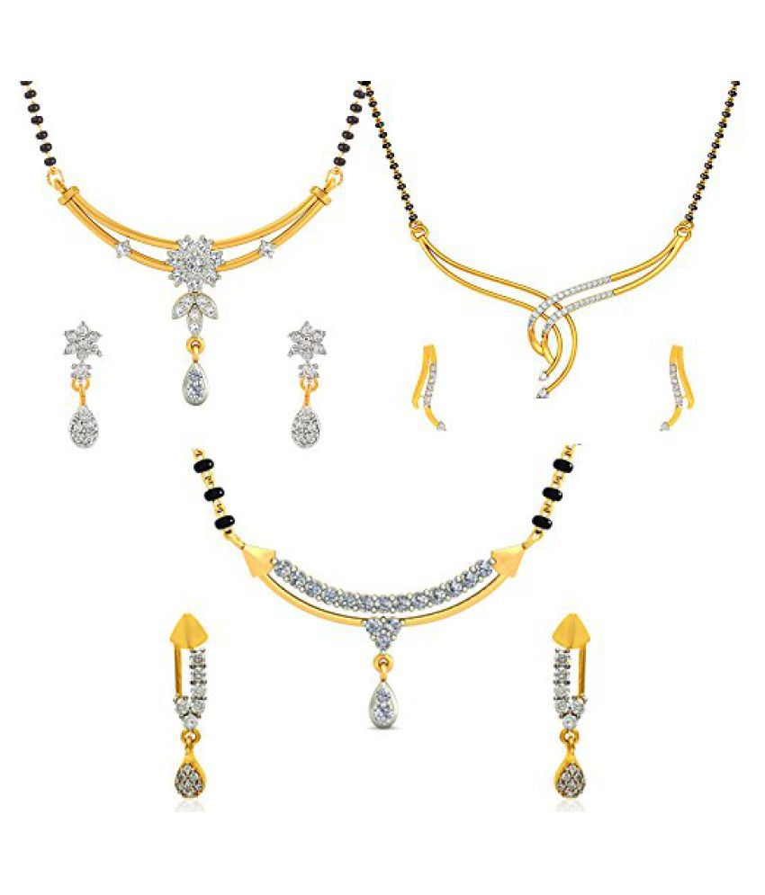 Jewels Galaxy Special Karva Chauth Designer AAA American Diamond Mangalsutra Collection - ( Pack Of 3 Set)